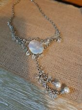 Boho Style Silver Tone And Clear Beaded Necklace