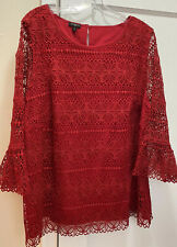 Nwt Talbots 2X 20W Red Dressy Lace Blouse