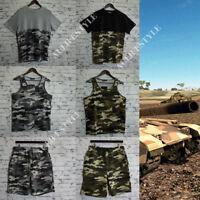Mens Camo Cargo Shorts Tees Singlets Sets Casual Army Combat Work Grey Kahki
