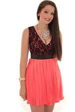Womens Low Back V Neck Pleated Chiffon Lined Lace Skater Flared Party Dress