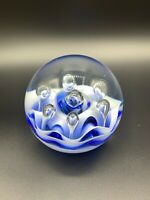 Vintage Glass Paperweight Crystallization, Beautiful Bright