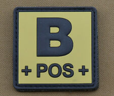 "PVC / Rubber Patch ""Blood type B POS + Tan"" with VELCRO® brand hook"
