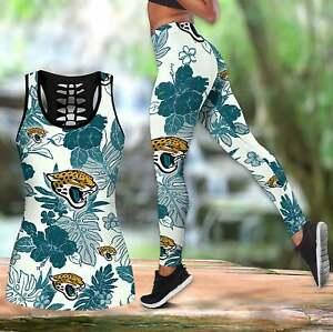 Jacksonville Jaguars 2PCS Tank Top Leggings Women High Waist Butt Lift Yoga Pant