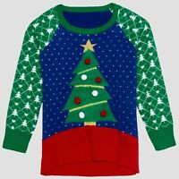 Well Worn Toddler Girls Ugly Christmas Tree Pom Pom Ornaments Holiday Sweater