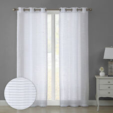 84� Sheer Striped 2-Panel Pair Window Treatment Curtains Grommet Drapes, White