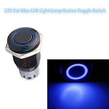 16mm 3A 12V Car Push Button Toggle ON-OFF Metal Blue LED Light Switch