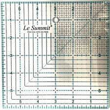 "Le Summit 6 Inch X 6 Inch Quilting Ruler #34266 Clear Acrylic Ruler 6""X6"""