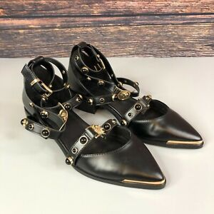 ASOS Womens Black Strappy Lion Head Sandals Pointed Toe Shoes Flats Size UK 4 37