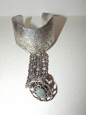 FREE PEOPLE BRACELET RING HAND SILVER METAL CUFF BEAD ADORNMENT CHAINS #126