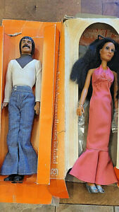 Very nice celebrity Sonny and Cher 1976 Mego Dolls pair