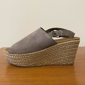 SKETCHERS Luxe Foam Size 10 Peep Toe Taupe Suede Espadrille Wedge NEW RRP$120
