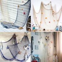 Decorative Nautical fishing Net Seaside Beach Ocean Sea Shell Home Wall Hanging
