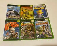 6 Microsoft Xbox Game Bundle Lot Madagascar Shrek Shark Tale Chicken Little KIDS