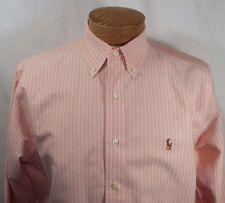 Ralph Lauren Classic Fit Long Sleeve Button Down Shirt Peach Striped Mens 16 1/2