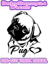 PUG Love Heart VINYL DECAL Sticker Car Truck DOG Pet Laptop Best Friend