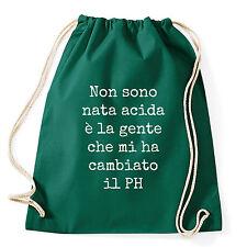 Art T-shirt, Zaino Non Sono Acida, Verde, Sacca Gym