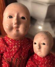 ANTIQUE JAPANESE ICHIMATSU Mom Daughter Glass Eyes Paper Mache Dolls