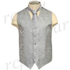 New Brand Q polyester men's Paisley Vest Tuxedo Waistcoat_Necktie Silver formal