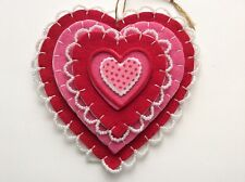 Red pink Valentine's Day felt Heart ornament