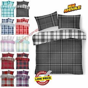 TARTAN CHECK BEDDING SET Duvet Quilt Cover Reversible Double King Bed Size