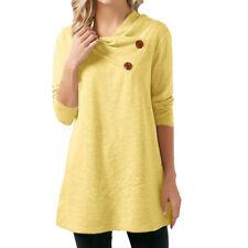 Women's Loose Long Sleeve Cotton Casual Blouse Shirt Tunic Tops Button Blouse