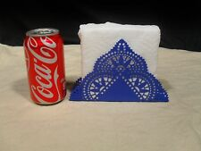 Brand New ~ Geometric Cutout Design ~ Metal Napkin Holder ~ Blue