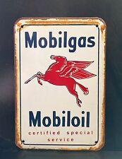MOBILGAS Mobiloil Service Small METAL SIGN vtg Retro Garage Wall Decor 30x40 Cm