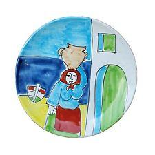 "LA MUSA Italy Wall Plate Hand Painted Decorative Art Pottery 9.5"""