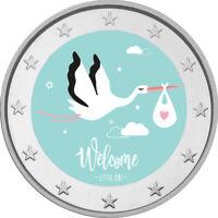 2 Euro Gedenkmünze Baby coloriert mit Farbe / Farbmünze / Kind / Geburt / Storch