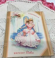 1950 Vintage Cinderella Birthday Greeting Card Booklet Story American Greeting