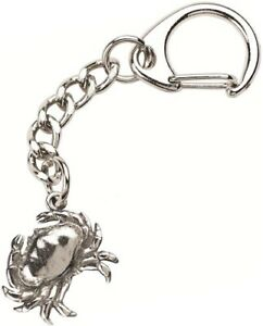 Crab Keyring  -  Beautiful Silver Pewter Keychain
