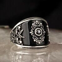 Turkish 925 Sterling Silver FLASHY black onyx stone mens man ring ALL SİZE us