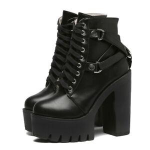 New Sexy Women Fashion Black Platform Boots Chunky High Heels LaceUp Shoes Heels