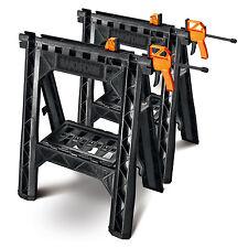 Clamping Saw Horse 2pc Set Folding Wood Work Tool Shelf Storage Bar Cord Hook