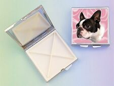 Boston Terrier Dog 4 Compartment Square Metal Pill Box by paws2print