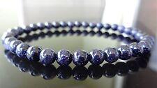 "Galaxy Blue Sun Sitara Stone bead bracelet for MEN AAA Quality 6mm - 8"" inch"