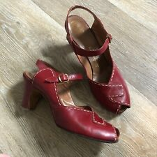 1940s Read Shoes High Heels With Decorative Stitching