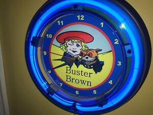 ^ Buster Brown Shoes Cobbler Store Shop Advertising Neon Clock Sign