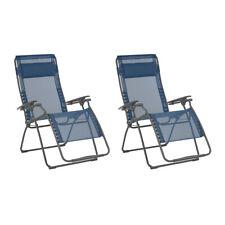 Lafuma Futura XL Zero Gravity Lawn Steel Framed Recliner Chair, Ocean (2 Pack)