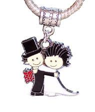 Bride & Groom Black White Wedding Shower Gift Dangle Bead for Charm Bracelets