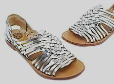 Tory Burch $250 Anya Huarache Logo Sandal 9 Silver Metallic Leather Strappy Flat