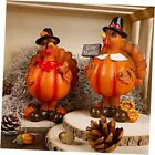 Standing Turkey Couple Thanksgiving Decorations, 2 Pack Resin Turkeys Give