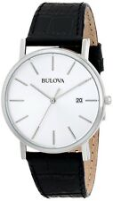 New Bulova 96B104 Men'sStainless Steel Case White Dial  Black Leather Watch 30M