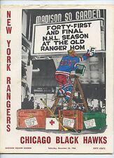 November 26 1966 NHL Program Chicago Black Hawks at New York Rangers