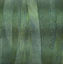 Silk Ribbon 100% Pure 4mm  Green Embroidery Hand Dyed Pine - 3 mtr