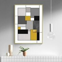 Canvas Print - Geometric Abstract Yellow Color Wall Art Home Decor (UNFRAMED)