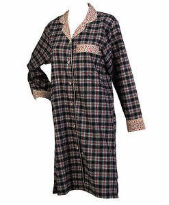 Nightshirt Ladies Navy Tartan Nighty Button Up Flower Detail 100% Cotton Nightie