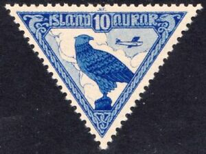 ICELAND, SC 3, 1930 Airmail issue, Gyrfalcon. MLH. CV $25.