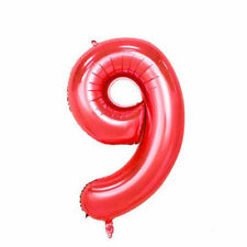 """40"""" Giant Hot Red Nine Year Old Baby First Birthday 9 Month Number Float Balloon"""