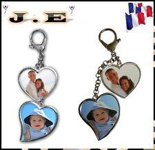 Porte clés ou bijou de sac 2 cœur  personnalisé recto verso avec photo clé clef